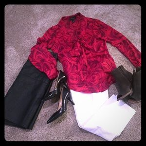 Rose-print Blouse with Bow Front